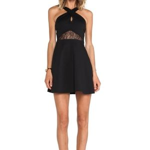 BCBG fit & flare keyhole black dress s6